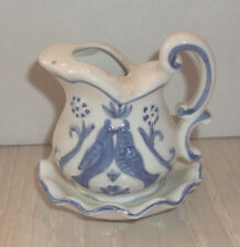 Vintage Enesco Mini Love Birds Pitcher With Dish Blue/White 2 3/4 Inch