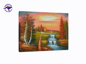 HUGE CANVAS BOTANICAL OIL PAINTING TREES SUN & WATERFALL LANDSCAPE HAND PAINTED