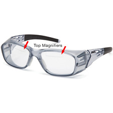 Pyramex Emerge+ Bifocal Safety Glasses, Trans Gray, Clear with Upper Magnifier