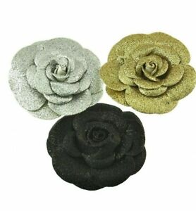 Christmas Themed Glitter Rose Flowers on Concord Clip & Brooch Pin Fancy Dress
