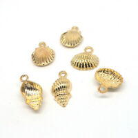 10X Gold Conch Shell Alloy Charms Pendants Fit DIY Necklace Jewelry Craft Making