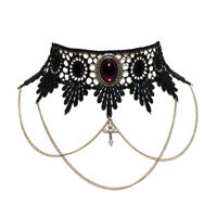 Amethyst purple gothic lace choker necklace Steampunk victorian goth wedding