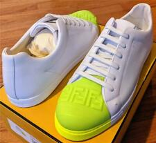 $790 Mens Authentic Fendi Lowrise Leather Sneakers White/Fluorescent UK 13 US 14