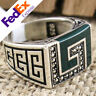 925 Sterling SILVER Green Agate Turkish Handmade Meander Key Luxury Men Ring
