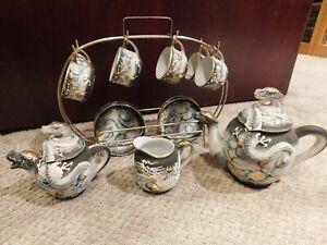 Dragon Ware TEA SET Japan Hand Painted Moriage & Gold Trim Porcelain + Disp Rack