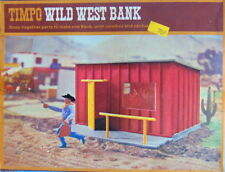 Rare boxed 1970's 264 TIMPO TOYS WILD WEST BANK building. Contents sealed in bag