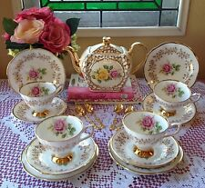 Sudlow Vintage Teapot & Clare pink rose bone china trios made in England
