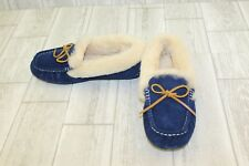 Pajar Canada India Faux Fur Lined Moccasin Slippers, Women's Size 8, Navy NEW