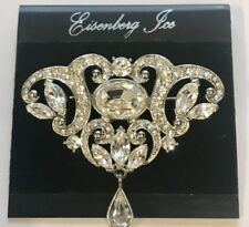 🔥 Eisenberg Ice Old New Stock Very Sparkly Silver Rhinestones Brooch Pin