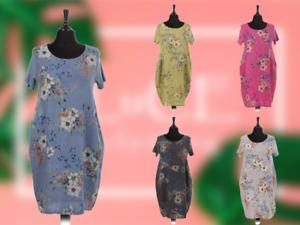 NEW Ladies FLORAL Summer Italian Womens Lagenlook LINEN Scoop Neck POCKET DRESS
