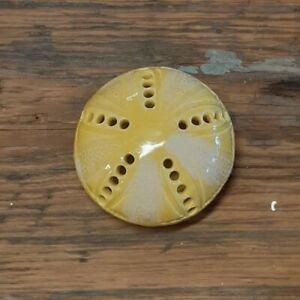 Sea Urchin Sand Dollar Bud Vase Flower Frog Vibrant Yellow Pottery Handmade