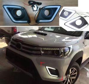 LED DRL Daytime Running Light Fog Turn Lamp For Toyota Hilux Revo Pickup 15-20