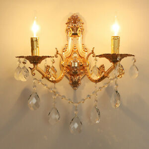 Vintage Candle Style Gold Metal Crystal Glass Indoor Porch Wall Lights 1/2 Heads