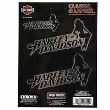 Motero Harley Davidson HD sitting Lady emblema ADHESIVO DECAL sticker cromo 3 St.