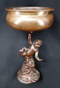"""Antique Cherub Planter Statue Vintage Brass Bronze Victorian Angel 9 1/2"""" Tall"""