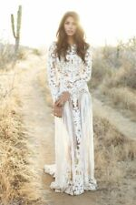 Ivory Long Sleeve Lace Wedding Dress Bohemian Bridal Gown Sheer Open Back Custom