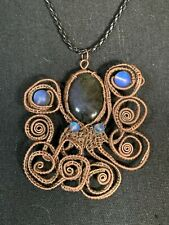 Wire Wrapped Octopus Amulet With Blue Mermaid Glass