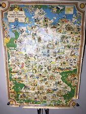 1960 map 23 1/2 X 33 By Rail through Germany the Land of Fairytales WER Trashed