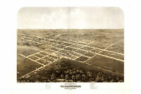 Map of Warrensburg, Missouri, Johnson Co; Antique Pictorial Map, 1869