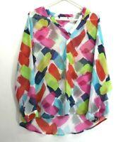 Liz Claiborne Women's Large Long Sleeve Semi Sheer High-Low Blouse w/ 1 Button