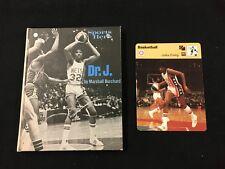 """Julius Erving 76ers """"Dr J"""" Sports Hero Book & 1977 Sportscaster Card Lot"""