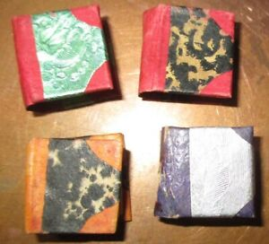 """VINTAGE HAND MADE LOT 4 MINIATURE DOLLHOUSE BOOKS MARBLEIZED COVERS 3/4"""" TALL"""