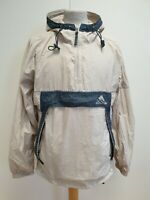 H955 MENS ADIDAS BEIGE GREY LIGHTWEIGHT HOODED PULLOVER CAGOULE UK S EU 46