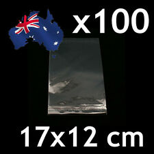 100pcs Self Adhesive Self Seal Cellophane Resealable Clear Plastic Bags 12x17cm