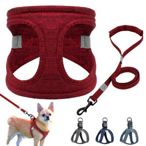 Step in Dog Harness & Lead Chihuahua Yorkie French Bulldog Fabric Small Dog Vest