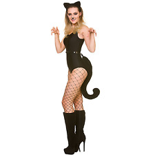 Adult Black Cat Ears and Giant Tail Set Fancy Dress Halloween Costume Accessory