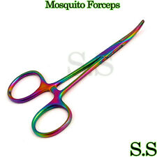 """Multi Color Mosquito Forceps 3.5"""" Curved Rainbow Color"""
