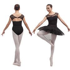 Black Leotard Lace Open Back Ballet Dance Bodysuit.Dancewear