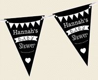 PERSONALISED CHALKBOARD BUNTING- BABY SHOWER BANNER DECORATION PARTY SIGN UNISEX