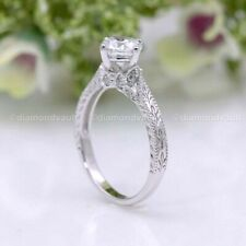 Engagement Ring Solid 14K White Gold Certified 2 Ct Excellent Moissanite Vintage