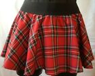 New Ladies Women Circular RED Tartan Mini Skirt With Elasticated Waistband