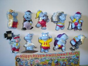 KINDER SURPRISE SET - HAPPY HIPPOS HOLLYWOOD STARS 1997 - FIGURES COLLECTIBLES