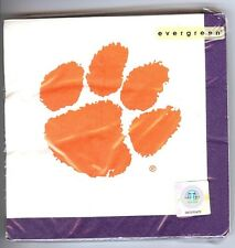 """CLEMSON TIGER PAW NCAA COLLEGIATE LUNCHEON NAPKINS 20 Pack 13""""x13"""" 3 PLY NAPKINS"""