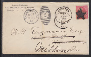 US Sc 250 with Star Fancy Cancel on 1898 Forwarded Cover