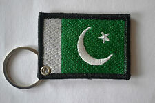 PAKISTAN FLAG EMBROIDERY KEYRING EMBROIDERED PATCH BADGE KEY CHAIN CHROME RINGS