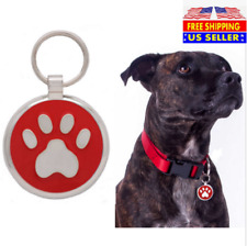 Paw Print Pet ID Tags Custom Engraved Dog Cat Tag Personalized & Free Split Ring