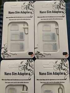 2 XNOOSY Sim Card Adapter Micro Mini Nano Standard 4 in 1 Set All Mobile Phones