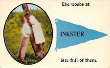 """The Woods Are Full of Them"" at Inkster Michigan~Couple in Tree~1914 Pennant PC"