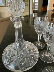 Waterford Crystal Wine Decanter & 3 Crystal Glasses