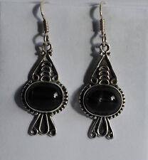 925 Sterlingsilber Ohrringe mit Onyx, schwarz Edelstein Ohrhänger mit Onyx