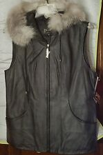 Genuine Black Leather Vest with Hood Trimmed in Fox Fur by Damselle, Size M, NWT