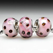 5/10pcs New European Murano Glass Beads Lampwork Fit Charm Bracelet 14x14x10mm