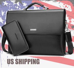 US Business Men Leather Briefcase Bag Handbag Laptop Shoulder Messenger Bag