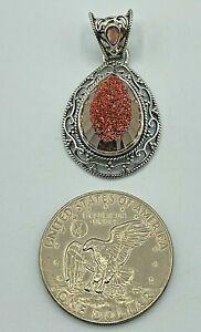 Vintage SAJEN Sterling Silver 925 Pink Druzy & Amethyst Large Pendant 12.7g EXCL