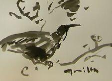 JOSE TRUJILLO MODERNIST ABSTRACT EXPRESSIONIST INK WASH BIRD SIGNED ORIGINAL