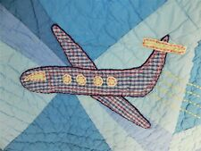 """Vintage Pottery Barn Kids Blue Crib Quilt with Airplanes / Planes / 37 """" X 50 """""""
